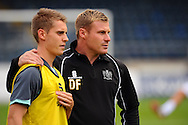 Manager of Bury David Flitcroft talks to Danny Rose before the Sky Bet League 2 match at Adams Park, High Wycombe<br /> Picture by Seb Daly/Focus Images Ltd +447738 614630<br /> 06/09/2014