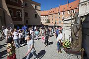 Poland, Krakow. Wawel (castle). Pope John Paul II statue.