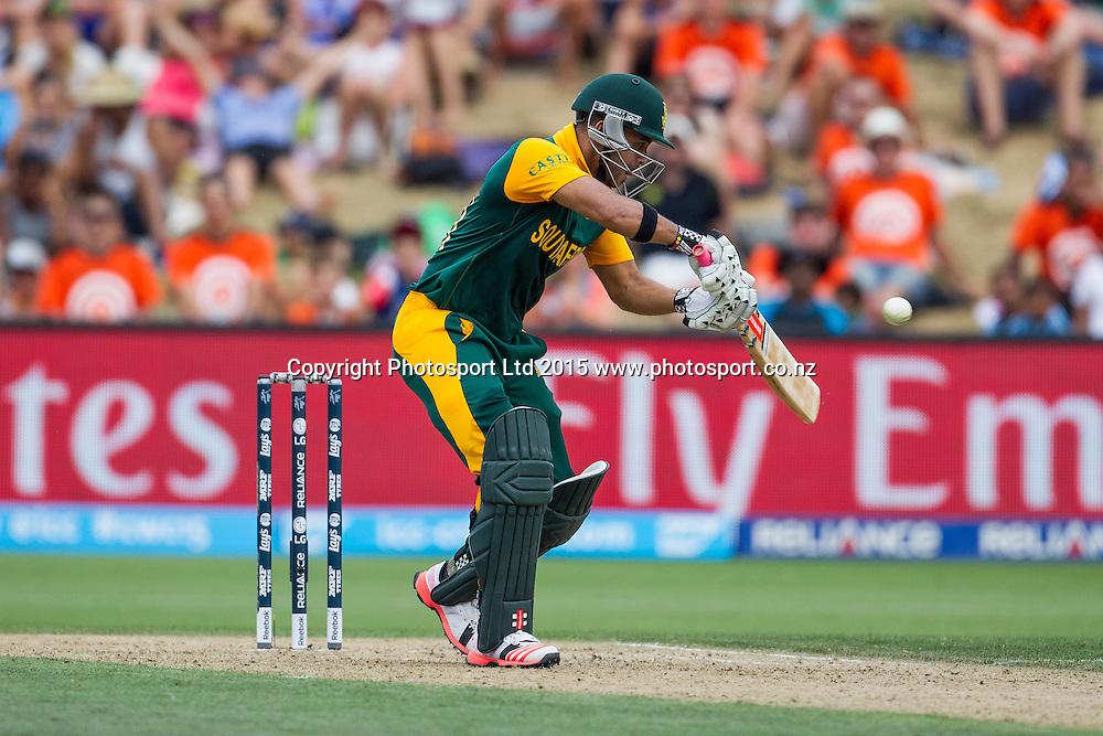 South Africa's JP Duminy batting during the ICC Cricket World Cup match - South Africa v Zimbabwe at Seddon Park, Hamilton, New Zealand on Sunday 15 February 2015.  Photo:  Bruce Lim / www.photosport.co.nz
