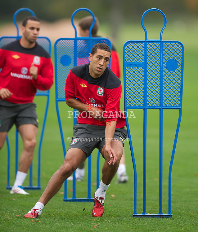 CARDIFF, WALES - Tuesday, October 4, 2011: Wales' Lewin Nyatanga during a training session at the Vale of Glamorgan Hotel ahead of the UEFA Euro 2012 Qualifying Group G match against Switzerland. (Pic by David Rawcliffe/Propaganda)