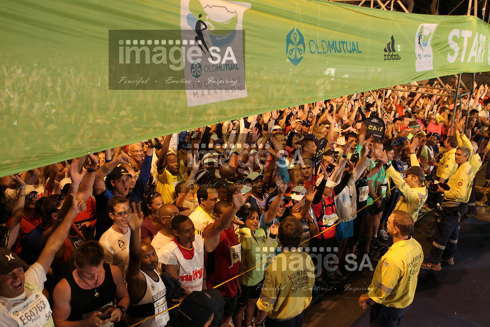CAPE TOWN, South Africa - Saturday 30 March 2013, The start of the half marathon of the Old Mutual Two Oceans Marathon. .Photo by Greg Beadle/ ImageSA