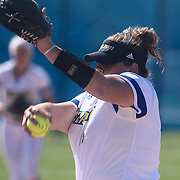 Delaware Pitcher Kiersten Coffman (33) throws a pitch during a Colonial Athletic Association regular season softball game between Delaware and Hofstra Saturday, April 16, 2016, at Delaware softball stadium in Newark, Delaware.