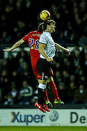 Chris Martin of Derby County (right) competing with Darragh Lenihan of Blackburn Rovers (left) during the Sky Bet Championship match at the iPro Stadium, Derby<br /> Picture by Andy Kearns/Focus Images Ltd 0781 864 4264<br /> 24/02/2016