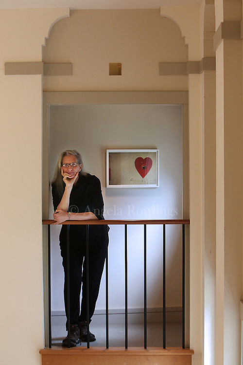 "Photographer Annie Leibovitz stands by her photograph ""Annie Oakley's heart target"" from ""Pilgrimage"" at the Concord Museum, Wednesday,  June 27, 2012."