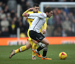 Jeff Hendrick of Derby County and Jake Forster-Caskey of Milton Keynes Dons (L) in action - Mandatory byline: Jack Phillips/JMP - 13/02/2016 - FOOTBALL - The iPro Stadium - Derby, England - Derby County v Milton Keynes Dons - Sky Bet Championship