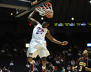 "Mississippi's Nick Williams dunks against Grambling State during the first half at the C.M. ""Tad"" Smith Coliseum in Oxford, Miss. on Monday, November 14, 2011. (AP Photo/Oxford Eagle, Bruce Newman)."