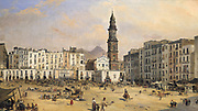 Piazza del Carmine, Naples' by Jean-Auguste Bard (b1812, active 1831-1861) French painter. Behind the Church of Santa Maria Carmine , centre right , Mount Vesuvius is gently issuing smoke.