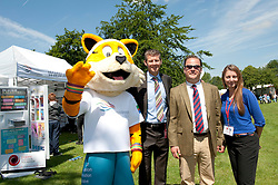 Pictured is, from left, Lincolnshire Sport mascot Max, Steve Cram, Jonathan Spencer, and Rachel Buckley.<br /> <br /> Steve Cram spent the day at the Lincolnshire Show with Clydesdale Bank and Yorkshire Bank.  He also visited the Sports Zone, at the show, which was organised by Lincolnshire Sport.<br /> <br /> Picture: Chris Vaughan/Chris Vaughan Photography<br /> Date: Wednesday, June 24, 2015