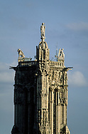 France. Paris. elevated view. the four sins sculpture on top of saint jaques  tower