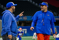 Florida practice on Thursday, December 27, 2018 at the Mercedes Benz Stadium in Atlanta. Florida will face Michigan in the 2018 Peach Bowl on December 29, 2018. (Jason Parkhurst via Abell Images for the Chick-fil-A Peach Bowl)
