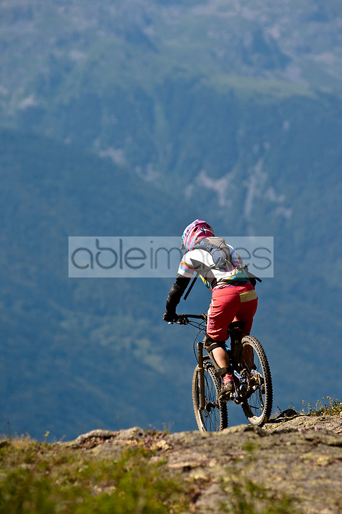 Cyclist Racing in the Mountains, Alpe d'Huez, France