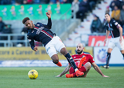Falkirk's Myles Hippolyte and Ayr United's Gary Harkins. Falkirk 1 v 1 Ayr United, Scottish Championship game played 14/1/2017at The Falkirk Stadium .