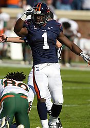 Virginia cornerback Trey Womack (1) reacts after Virginia recovered on a Miami muffed punt.  The Virginia Cavaliers faced the Miami Hurricanes in a NCAA football game at Scott Stadium on the Grounds of the University of Virginia in Charlottesville, VA on November 1, 2008.Miami defeated Virginia 24-17 in overtime.