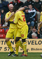 Photo: Steve Bond/Richard Lane Photography. <br />Nottingham Forest v Walsall. Coca Cola League One. 15/03/2008. Tommy Mooney (L) and Edrissa Sonko (R) celebrate the Walsall equaliser