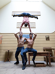 © Licensed to London News Pictures. 07/06/2018. London, UK.  The Head First Acrobats  perform Elixir at the Old Operating Theatre museum in Southwark. After winning the Best Circus and Physical Theatre Award at this year's Adelaide Fringe, Head First Acrobats will bring Elixir to the Underbelly Festival from Tuesday 12th June. When three gleefully inept scientists attempt to produce the Elixir of Life, chaos erupts in the laboratory.  Photo credit: Vickie Flores/LNP