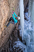"Dawn Glanc climbing ""Flying Circus"" M8+ in the Ouray Ice Park, Ouray Colorado"