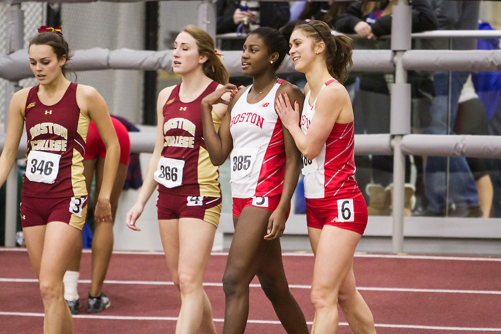 Boston University Multi-team indoor track & field, women 60 meter hurdles, BU 383, 385