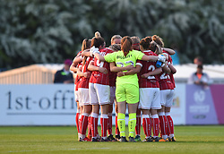 Bristol City Women huddle before the second half - Mandatory by-line: Paul Knight/JMP - 15/05/2018 - FOOTBALL - Stoke Gifford Stadium - Bristol, England - Bristol City Women v Chelsea Ladies - FA Women's Super League 1