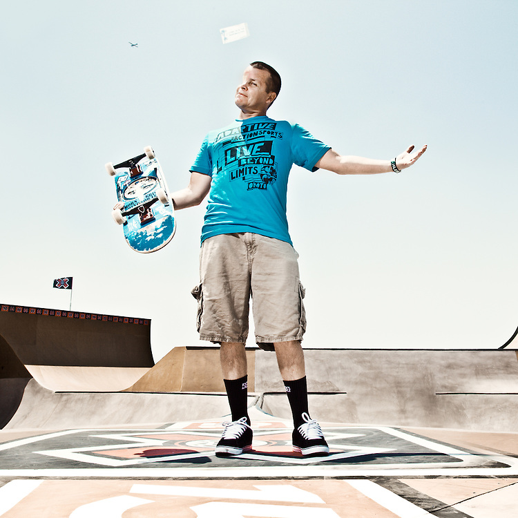 Mike Rodgers of Grind for Life skates at the Adaptive X competition at X Games, Los Angeles, CA.