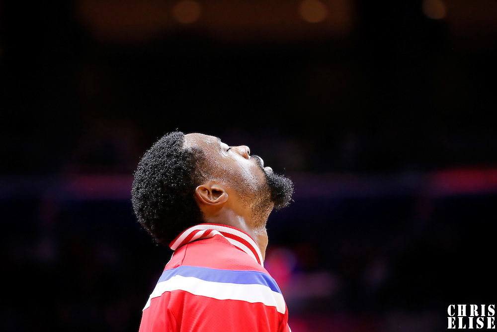07 October 2014: Los Angeles Clippers center DeAndre Jordan (6) is seen prior to the Golden State Warriors 112-94 victory over the Los Angeles Clipper, in preseason opener, at the Staples Center, Los Angeles, California, USA.