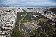 Golden Gate Park, overlooking the deYoung Museum and California Academy of Sciences to downtown San Francisco