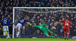 LIVERPOOL, ENGLAND - Monday, December 18, 2017: Everton's Wayne Rooney scores the third goal from a penalty kick, despite missing a penalty earlier in the first half, during the FA Premier League match between Everton and Swansea City at Goodison Park. (Pic by David Rawcliffe/Propaganda)
