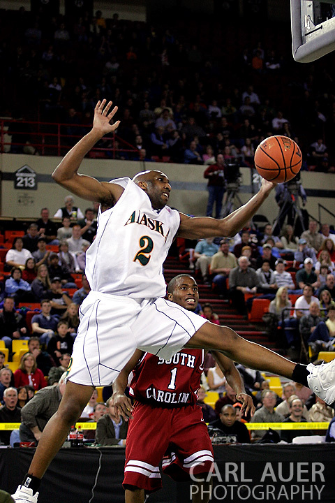 24 November 2005:  University of Alaska Anchorage senior forward Brian Hills (2) attempts to save a errant alley-oop pass in the first half of the UAA Seawolves 60-65 loss to the South Carolina Gamecock's in the first round of the Great Alaska Shootout at the Sullivan Arena in Anchorage Alaska.