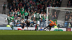 Hibernian's Leigh Griffiths scoring their second goal..Hibernian 4 v 3 Falkirk, William Hill Scottish Cup Semi Final, Hampden Park..©Michael Schofield..