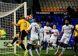 Bristol Rovers' Lee Brown heads the ball back across the goal - Photo mandatory by-line: Neil Brookman/JMP - Mobile: 07966 386802 - 08/11/2014 - SPORT - Football - Birkenhead - Prenton Park - Tranmere Rovers v Bristol Rovers - FA Cup - Round One