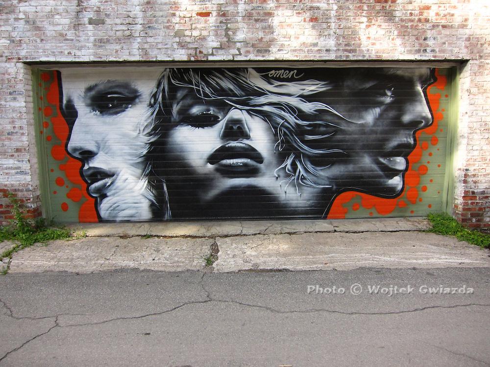Mural on garage door, Montreal.