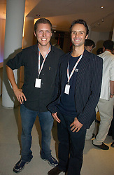 Left to right, hosts of the party EDWARD BALME and DUNCAN SCHOLES at the2006 Bladerun Send off party held at The Henry Moore Gallery, Royal Collefe of Art, Kensington Gore, London SW7 on 16th August 2006.<br /><br />NON EXCLUSIVE - WORLD RIGHTS