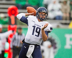 Oct 3, 2015; Huntington, WV, USA; Old Dominion Monarchs quarterback Shuler Bentley completes a pass during the first quarter against the Marshall Thundering Herd at Joan C. Edwards Stadium. Mandatory Credit: Ben Queen-USA TODAY Sports