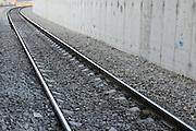 Israel, Tel Aviv, HaShalom train station railway tracks