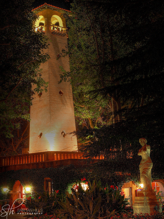 View of the Tlaquepaque bell tower and nearby statue, Sedona, AZ