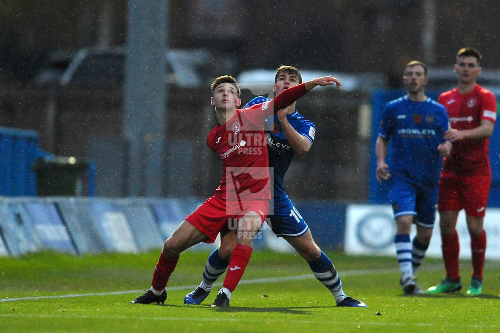 TELFORD COPYRIGHT MIKE SHERIDAN Ryan Barnett of AFC Telford battles for the ball during the Vanarama National League Conference North fixture between Curzon Asthon and AFC Telford United on Saturday, November 9, 2019.<br /> <br /> Picture credit: Mike Sheridan/Ultrapress<br /> <br /> MS201920-028