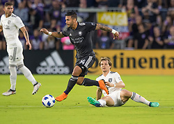 April 21, 2018 - Orlando, FL, U.S. - ORLANDO, FL - APRIL 21: Orlando City forward Dom Dwyer (14) looks to pass the ball during the MLS soccer match between the Orlando City FC and the San Jose Earthquakes at Orlando City SC on April 21, 2018 at Orlando City Stadium in Orlando, FL. (Photo by Andrew Bershaw/Icon Sportswire) (Credit Image: © Andrew Bershaw/Icon SMI via ZUMA Press)