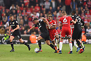 Aston Villa midfielder Robert Snodgrass (7) battles with Middlesbrough forward Adama Traore (37) during the EFL Sky Bet Championship match between Middlesbrough and Aston Villa at the Riverside Stadium, Middlesbrough, England on 12 May 2018. Picture by Jon Hobley.