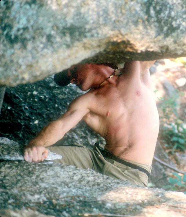 bouldering in the gunks