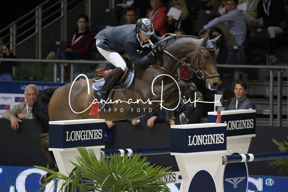 Delaveau Patrice (FRA) - Lacrimoso 3 Hdc<br /> Longines FEI World Cup&trade; Jumping Final 2013/2014<br /> Lyon 2014<br /> &copy; Dirk Caremans