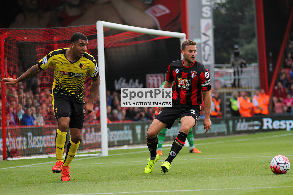 Troy Deeney plays the ball under pressure During Bournemouth vs Watford on Saturday 3rd of October 2015.