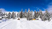 Minaret summit in winter, Inyo National Forest, Sierra Nevada Mountains, California USA