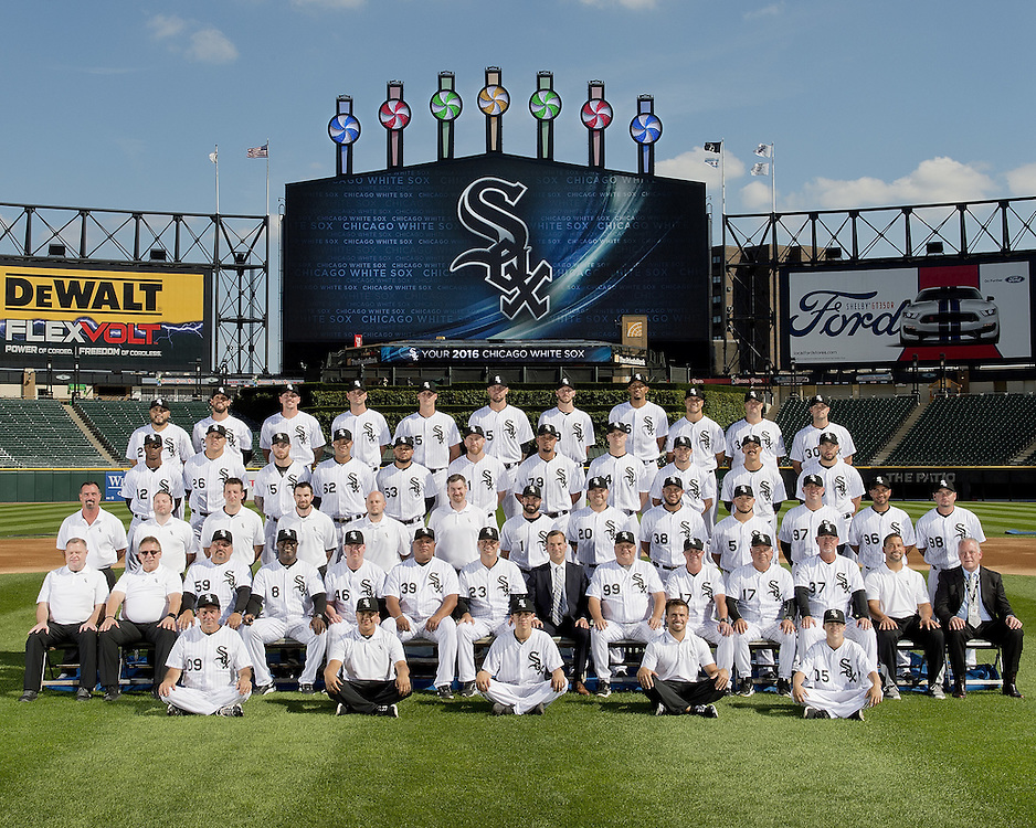 CHICAGO - AUGUST 23: The Chicago White Sox pose for their 2016 official team photo prior to the game against the Philadelphia Phillies on August 23, 2106 at U.S. Cellular FIeld in Chicago, Illinois.  FIRST ROW:  Batboys  SECOND ROW:  Assistant Trainer Brian Ball, Head Trainer Herm Schneider, Bullpen Catcher Mark Salas, First Base Coach Daryl Boston, Assistant Hitting Coach Greg Sparks,  Hitting Coach Todd Steverson, Manager Robin Ventura, General Manager Rick Hahn, Pitching Coach Don Cooper, Third Base Coach Joe McEwing, Bench Coach Rick Renteria, Bullpen Coach Bobby Thigpen, Director of Conditioning Allen Thomas, Director of Team Travel Ed Cassin  THIRD ROW:  Visiting Clubhouse Manager Gabe Morell, Baseball Video Coordinator Bryan Johnson, Physical Therapist Brett Walker, Umpire Clubhouse Manager Joe McNamara Jr., White Sox Clubhouse Assistant Manager Jason Gilliam, White Sox Clubhouse Manager Rob Warren, Adam Eaton, J.B. Shuck, Omar Narvaez, Carlos Sanchez,Pre-Game Instructor Mike Kashirsky, Pre-Game Instructor Luis Sierra, Pre-Game Instructor Adam Ricks  FOURTH ROW:  Tim Anderson, Avisail Garcia, Brett Lawrie, Jose Quintana, Melky Cabrera, Todd Frazier,Jose Abreu, Justin Morneau, Miguel Gonzalez, Tyler Saladino, Tommy Kahnle  FIFTH ROW: Dioner Navarro, Chris Beck, Jacob Turner, Nate Jones, Anthony Ranaudo, Chris Sale, Michael Ynoa, Dan Jennings, Matt Albers, David Robertson  NOT PICTURED:  Alex Avila, Austin Jackson, Jake Petricka, Zach Putnam, Daniel Webb (Disabled List), Carlos Rodon.  (Photo by Ron Vesely)