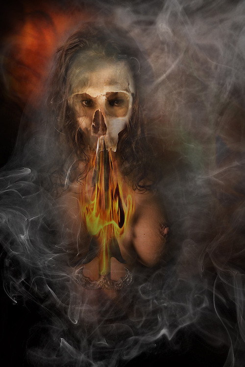 demonic woman, burning. artistic nude