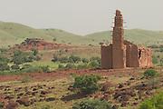 Sudanese-style mud-brick mosque in Bani, Northeastern Burkina Faso, West Africa.