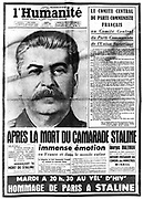 Title page of 'l'Humanite', Paris, 7 March 1953 reporting on the death of Joseph Stalin (1879-1953) Russian Communist dictator.
