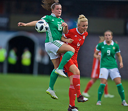 NEWPORT, WALES - Tuesday, September 3, 2019: Northern Ireland's Megan Bell (L) challenges Wales' captain Sophie Ingle during the UEFA Women Euro 2021 Qualifying Group C match between Wales and Northern Ireland at Rodney Parade. (Pic by David Rawcliffe/Propaganda)