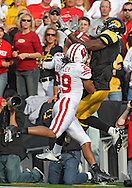 October 23 2010: Iowa Hawkeyes wide receiver Marvin McNutt (7) can't pull in a pass as Wisconsin Badgers cornerback Niles Brinkley (29) defends during the first half of the NCAA football game between the Wisconsin Badgers and the Iowa Hawkeyes at Kinnick Stadium in Iowa City, Iowa on Saturday October 23, 2010. Wisconsin defeated Iowa 31-30.