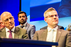 Pictured: Humza Yousaf, MSP, was all ears as the First Minister sddressed conference.<br /> The members of the SNP gathered in the Scottish Events Centre in Glasgow for their annual conference.<br /> <br /> Ger Harley | EEm 9 October 2017