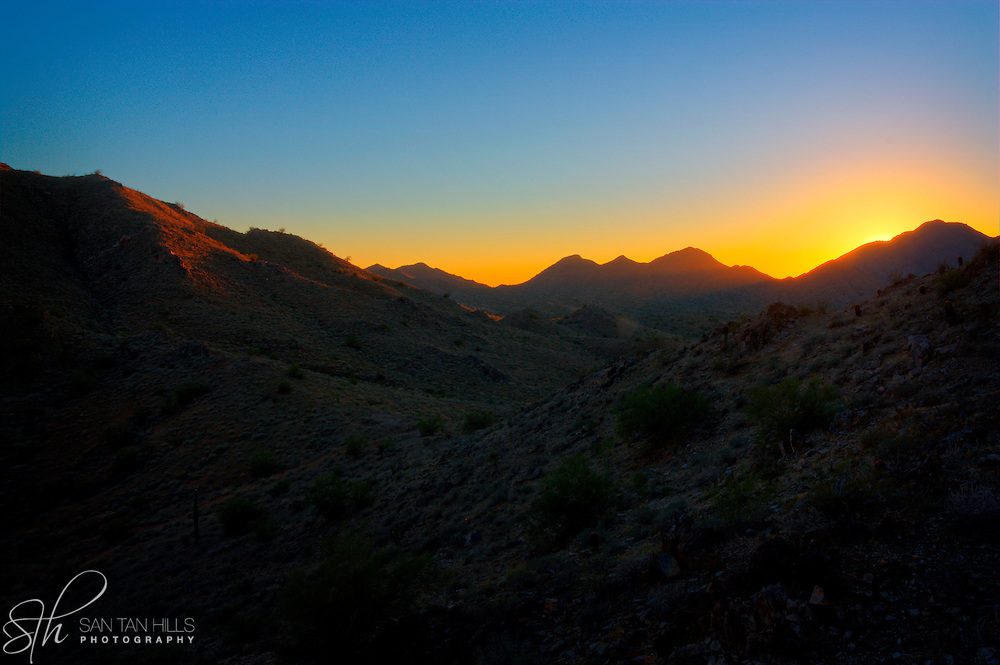 The sun setting over the San Tan Mountains - San Tan Regional Park, Queen Creek, AZ