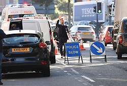 © Licensed to London News Pictures. 13/09/2018. London, UK. Police at the scene of a double stabbing that happened in the early hours of the morning outside Shepherd's Bush tube station. A man in his early thirties was arrested on suspicion of two counts of grievous bodily harm, he remains in police custody. Photo credit: Guilhem Baker/LNP
